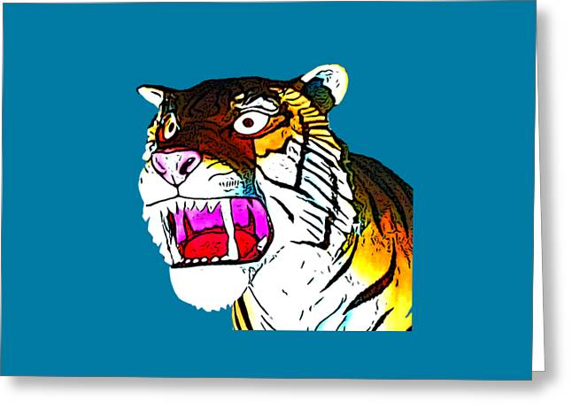 The Tiger Roars Greeting Card by Marian Bell