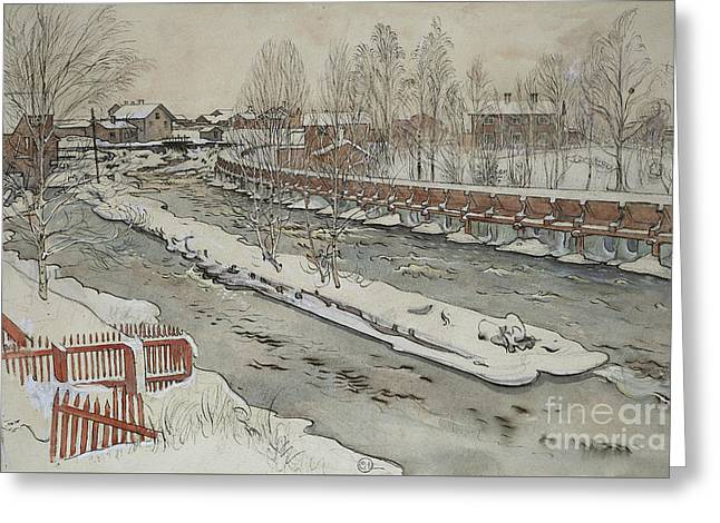 The Timber Chute, Winter Scene Greeting Card by Carl Larsson