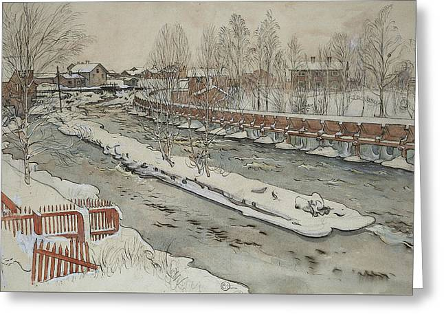 The Timber Chute. Winterscene. From A Home Greeting Card by Carl Larsson