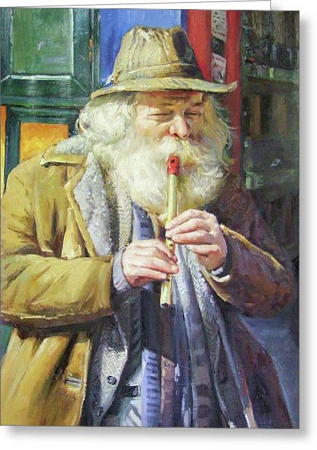 The Tin Whistle Greeting Card by Conor McGuire