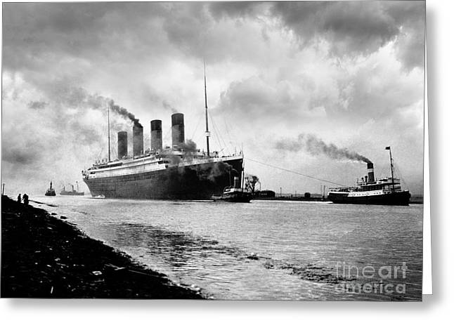 The Titanic Being Towed Greeting Card