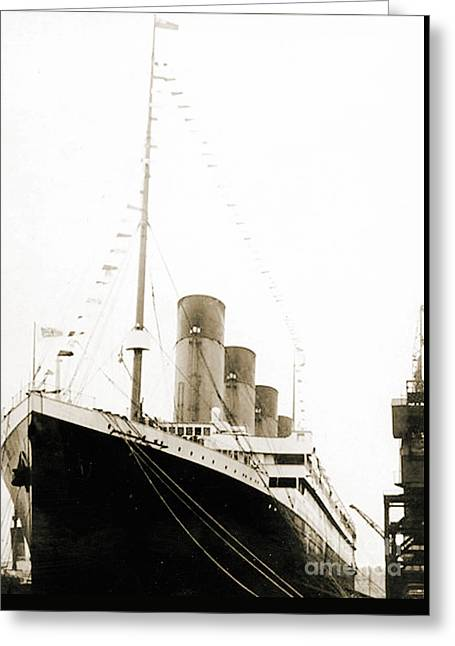 The Titanic Departing From Southanpton On Her Maiden Voyage Greeting Card