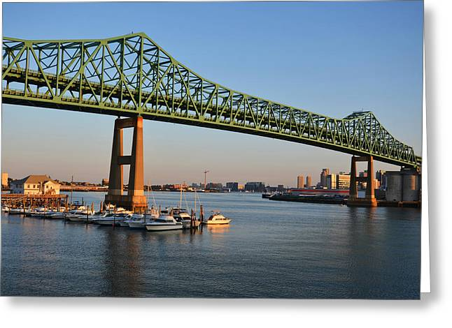 The Tobin Bridge Into The Sunset Chelsea Yacht Club Greeting Card