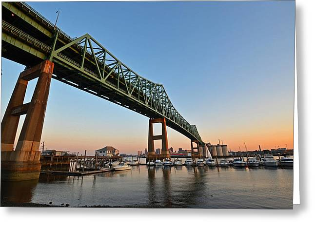 The Tobin Bridge Into The Sunset Greeting Card
