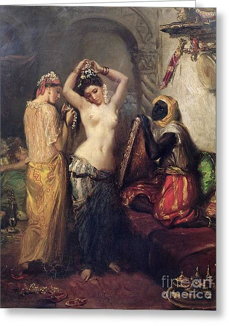 Harem Paintings Greeting Cards - The Toilet in the Seraglio Greeting Card by Theodore Chasseriau