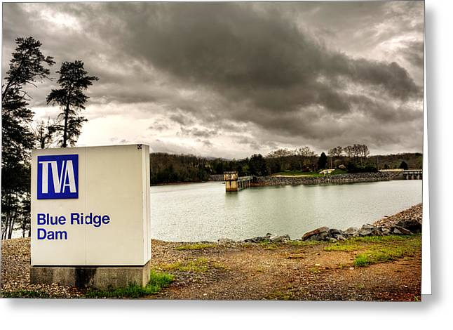 The Top Of Blue Ridge Dam Greeting Card by Greg and Chrystal Mimbs