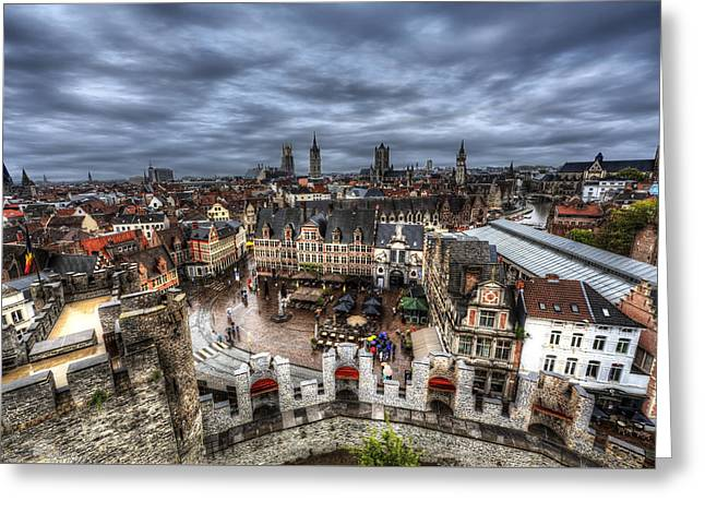 Greeting Card featuring the photograph The Top Of Ghent by Shawn Everhart