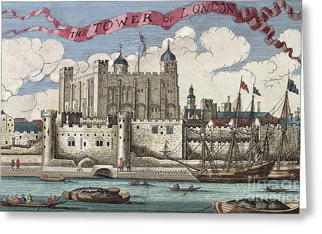 The Tower Of London Seen From The River Thames Greeting Card by English School