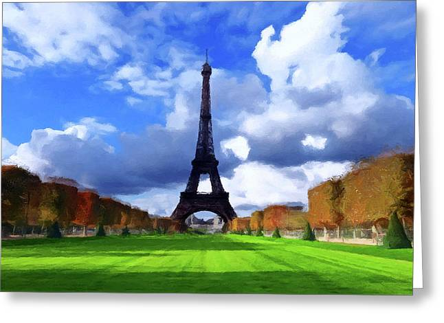 Greeting Card featuring the painting The Tower Paris by David Dehner