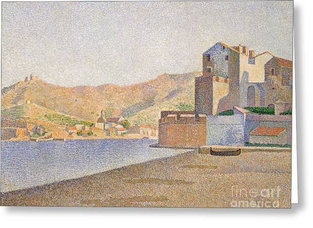 The Town Beach, Collioure Greeting Card by Paul Signac