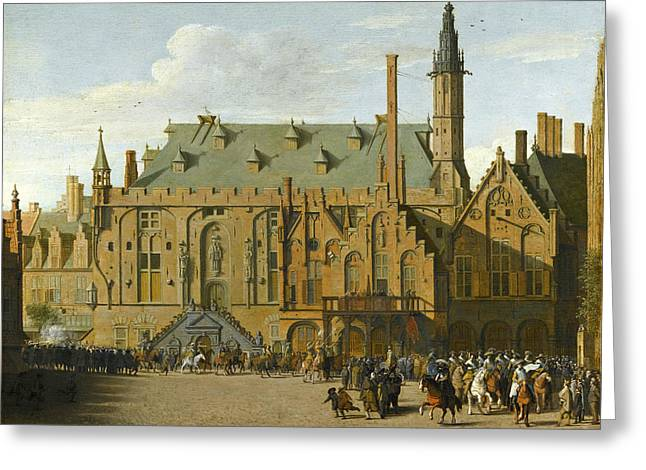 The Town Hall At Haarlem With The Entry Of Prince Maurits To Replace The Governers In 1618 Greeting Card by Pieter Jansz Saenredam