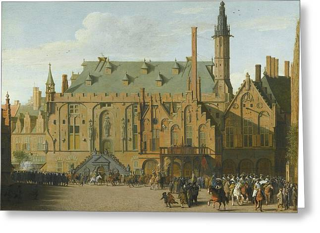 The Town Hall At Haarlem With The Entry Of Prince Maurits To Replace The Governers Greeting Card by MotionAge Designs