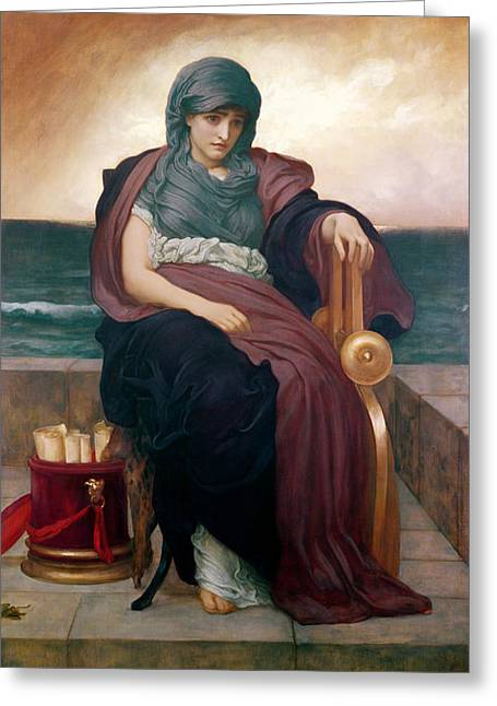 Leighton Paintings Greeting Cards - The Tragic Poetess Greeting Card by Frederic Leighton