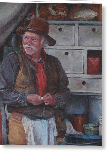 Western Greeting Cards - The Trail Chef Greeting Card by Jim Clements