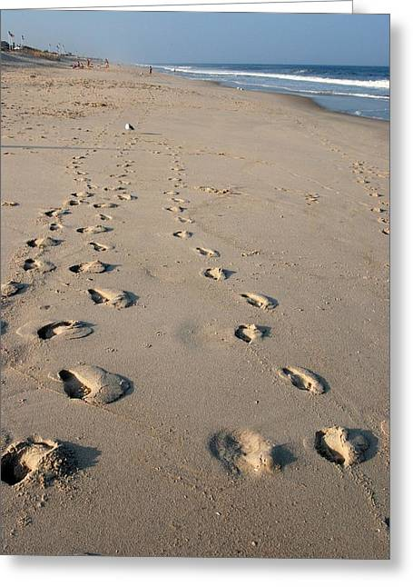 The Trails Of Footprints - Jersey Shore Greeting Card