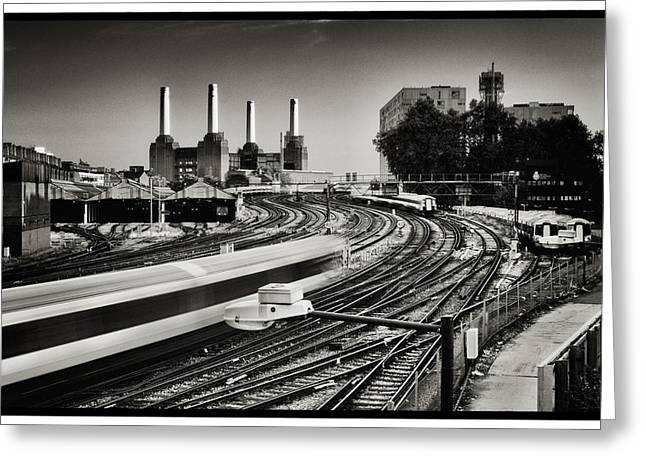 The Train And Battersea Power Station Greeting Card