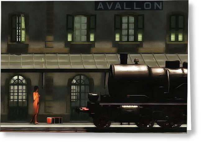 Greeting Card featuring the painting The Train In The Morning by Jan Keteleer