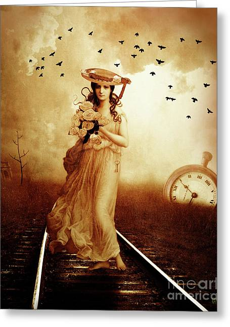 The Train Never Came Greeting Card by KaFra Art