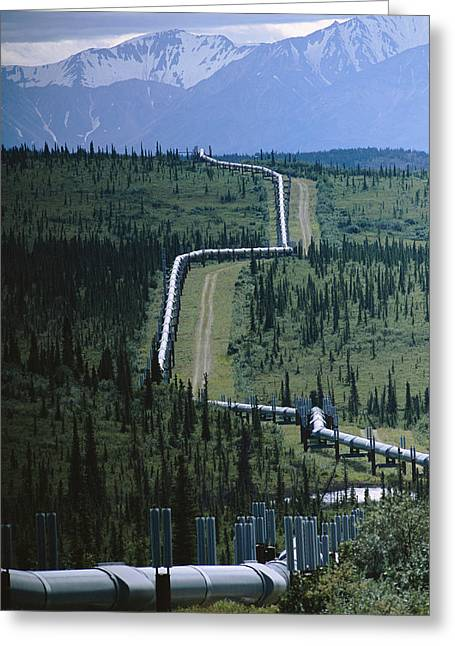 Equipment Greeting Cards - The Trans-alaska Pipeline Cuts Greeting Card by Melissa Farlow