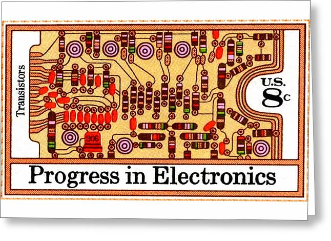 The Transistors And Circuit Board Stamp Greeting Card by Lanjee Chee