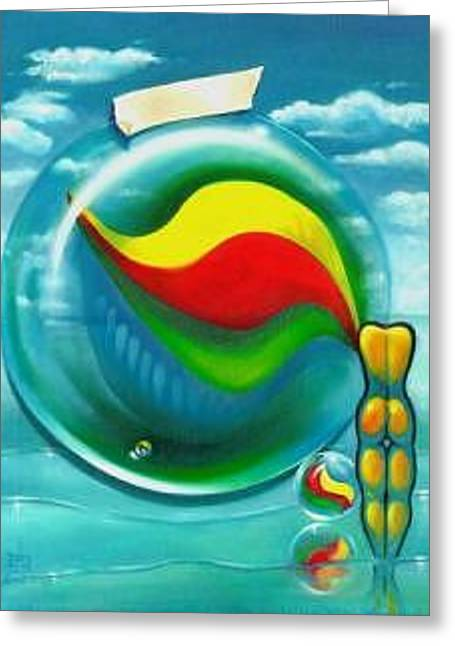 The Transparency Of A Tsunami On The Verge Of Destruction Greeting Card by Roger Calle