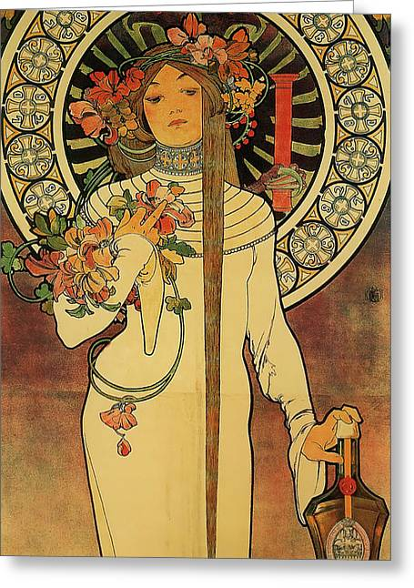 The Trappistine Greeting Card by Alphonse Mucha