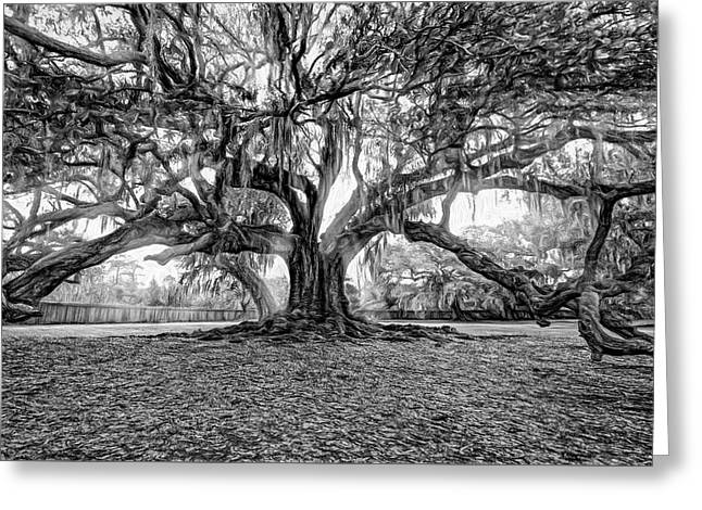 The Tree Of Life - Paint 2 Bw Greeting Card