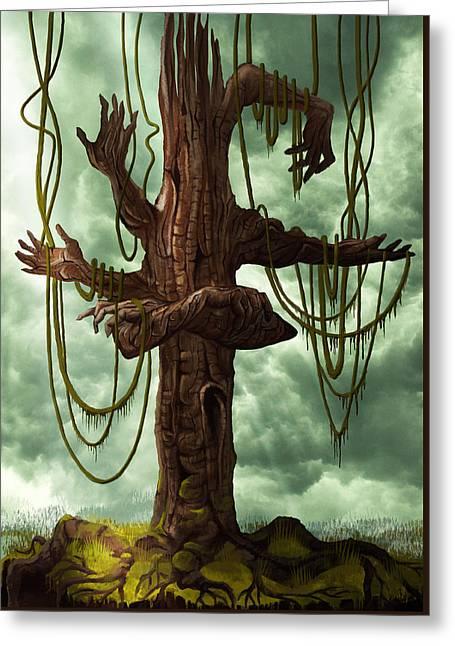 The Tree Of My Endless Selfish Requests - By Diana Van Greeting Card by Diana Van