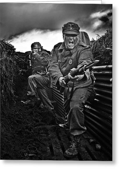 Under Fire Greeting Cards - The Trench Greeting Card by Mark H Roberts