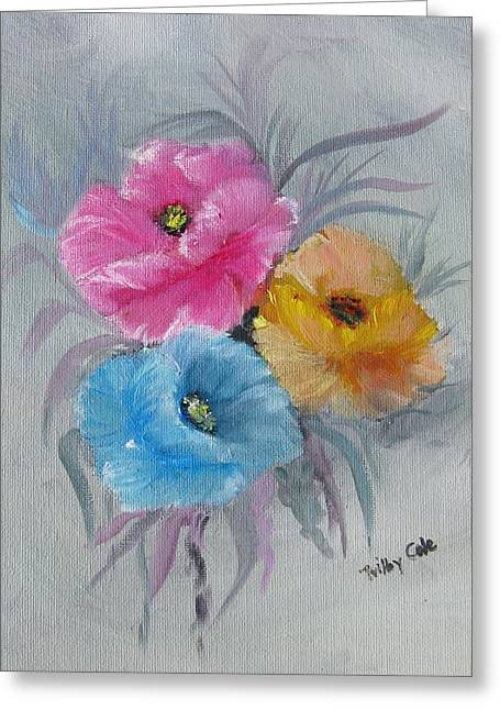 Greeting Card featuring the painting The Trio by Trilby Cole