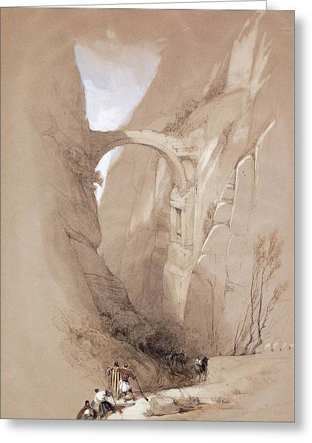 The Triumphal Arch Crossing The Ravine Leading To Petra, 1839 Greeting Card by David Roberts