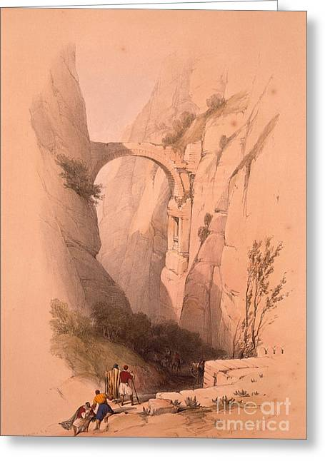 The Triumphal Arch Crossing The Ravine Leading To Petra Greeting Card by MotionAge Designs