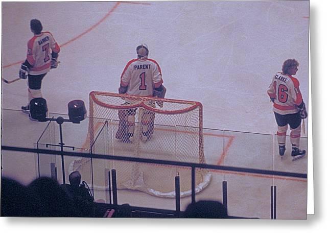 The Triumvirate - Bobby, Bernie, And Billy - Vintage Philadelphia Flyers Greeting Card by Michael Mazaika