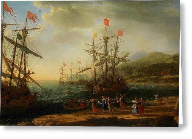 Greeting Card featuring the painting The Trojan Women Setting Fire To The Fleet by Claude Lorrain