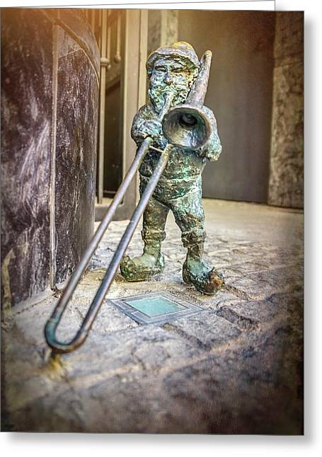 The Trombone Player Wroclaw Poland  Greeting Card