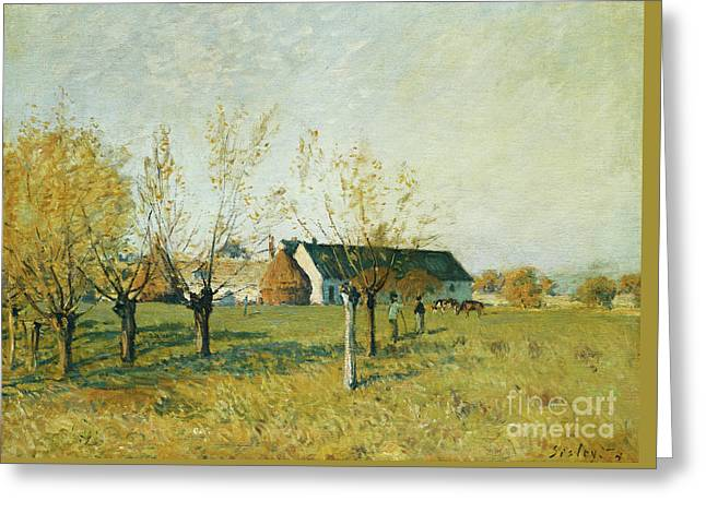 The Trou D'enfer Farm, Autumn Morning Greeting Card by Alfred Sisley