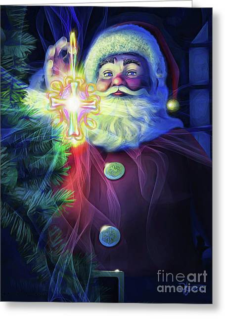 Greeting Card featuring the painting The True Spirit Of Christmas - Bright by Dave Luebbert