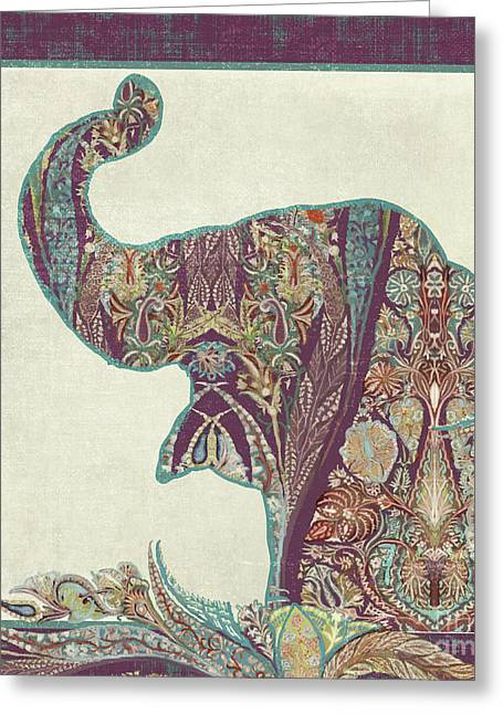 Greeting Card featuring the painting The Trumpet - Elephant Kashmir Patterned Boho Tribal by Audrey Jeanne Roberts