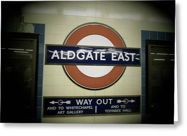 Greeting Card featuring the photograph The Tube Aldgate East by Christin Brodie