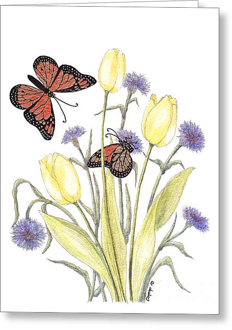 The Tulip And The Butterfly Greeting Card by Stanza Widen
