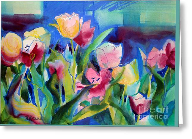 The Tulips Bed Rock Greeting Card by Kathy Braud