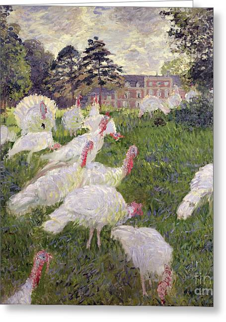 Chateau Greeting Cards - The Turkeys at the Chateau de Rottembourg Greeting Card by Claude Monet