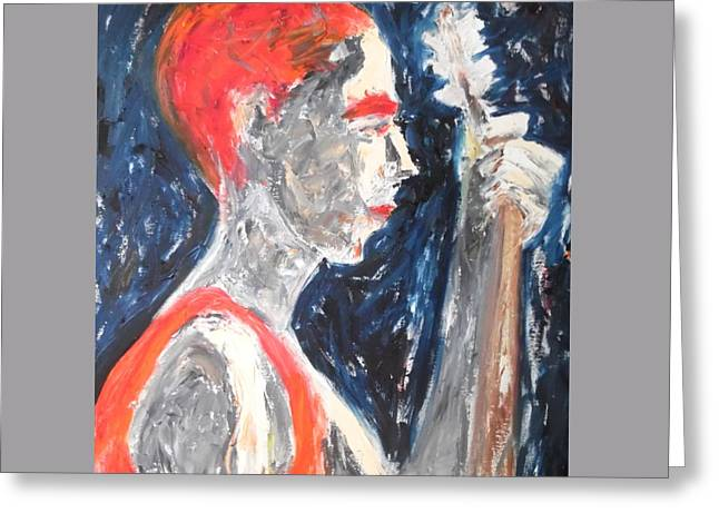 Greeting Card featuring the painting The Turkish Baglama Player by Esther Newman-Cohen