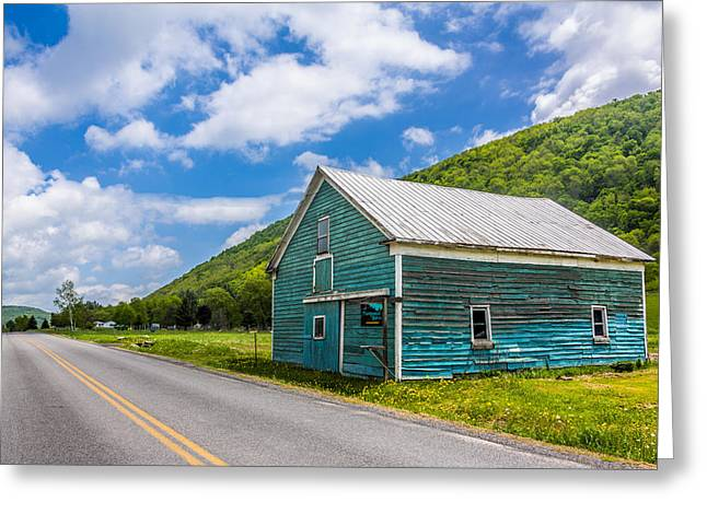 Greeting Card featuring the photograph The Turquoise Barn by Paula Porterfield-Izzo