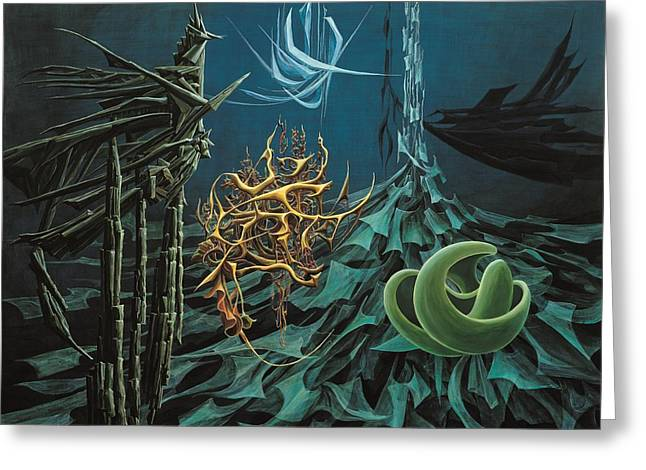 The Turquoise Night Greeting Card by Charles Cater