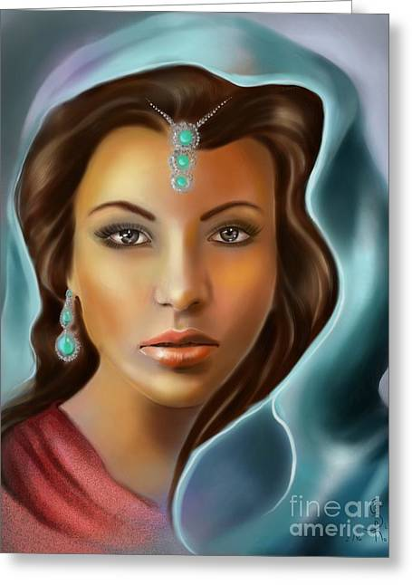 The Turquoise Rania... Greeting Card by Gabriela Tasiro