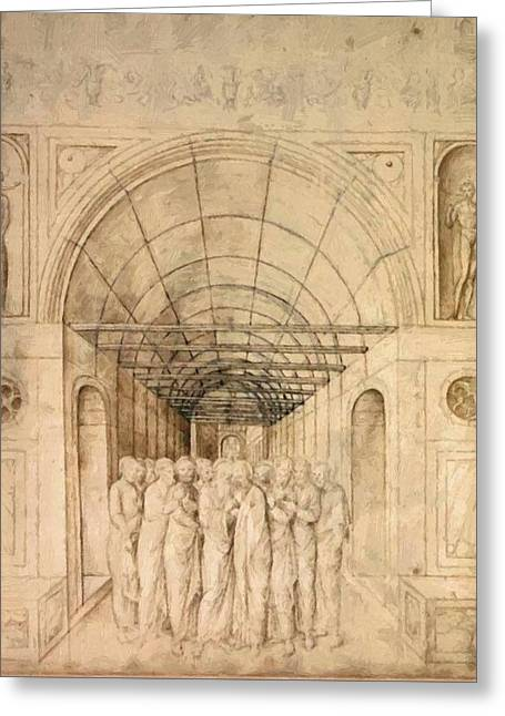 The Twelve Apostles In A Barrel Vaulted Passage 1470 Greeting Card