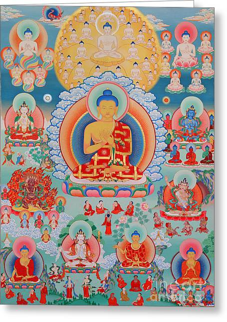 The Twelve Primordial Teachers Of Dzogchen - Tonpa Chu Ni Greeting Card by Sergey Noskov