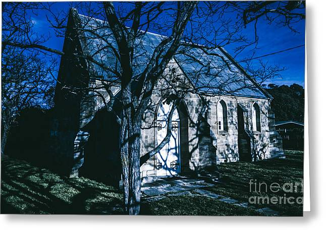 The Twilight Abbey Greeting Card by Jorgo Photography - Wall Art Gallery