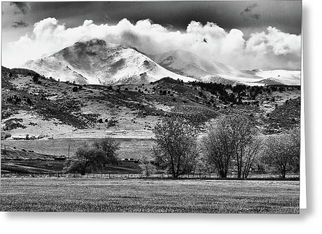 Bw Canvas Art Greeting Cards - The Twin Peaks - Mt Meeker and Longs Peak Hang-in BW Greeting Card by James BO  Insogna
